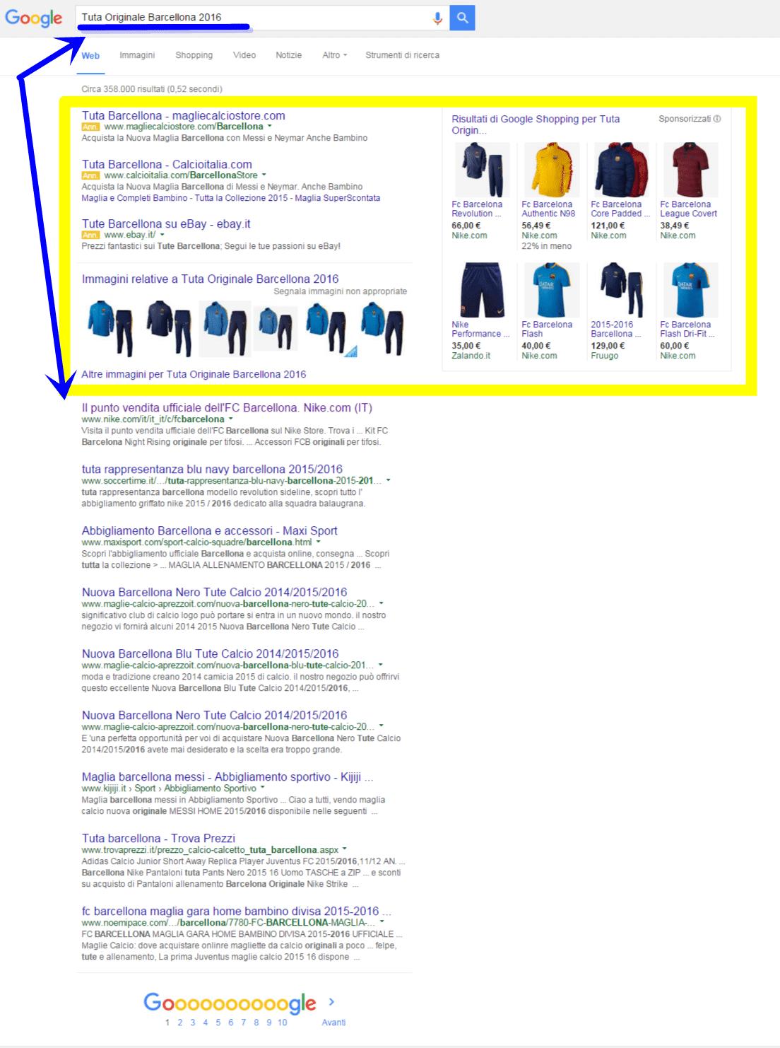 Posizionamento motori di ricerca sito web ecommerce Abbigliamento sportivo
