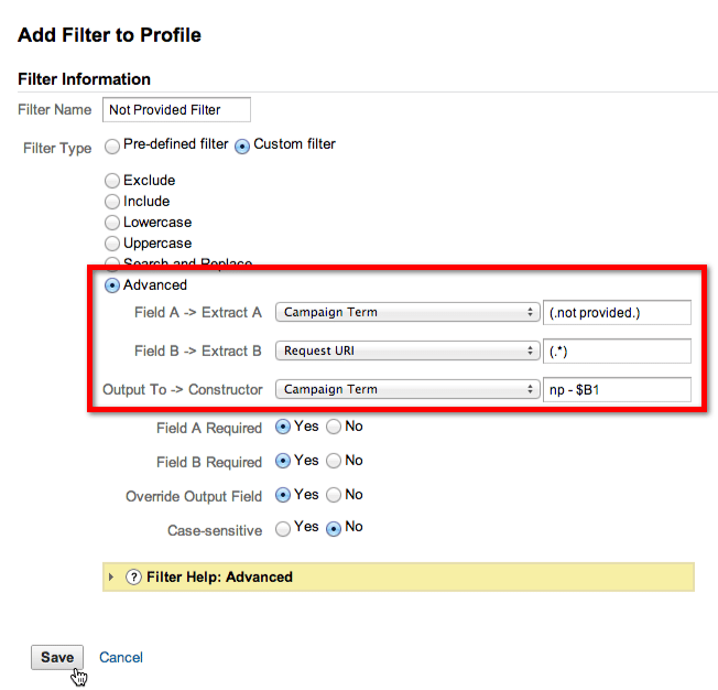 filtro google analytics not provided landing page